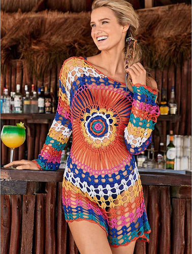 Beach Luxury Colorful Crochet Beach Cover Up Knitted Tunic Dress 72CM