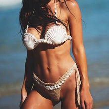 Load image into Gallery viewer, Beach Luxury Bohemian Shell Handmade Knitted Bikini Set