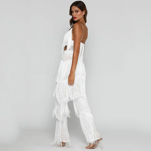 Beach Luxury Sexy Tassel Two Piece Set Crop Top and Pants