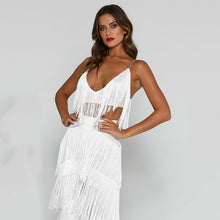 Load image into Gallery viewer, Beach Luxury Sexy Tassel Two Piece Set Crop Top and Pants