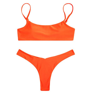 Beach Luxury Neon Padded Solid Brazilian Push-Up Bikini 7 Colours