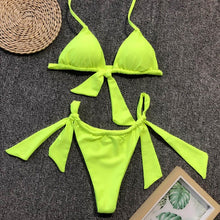 Load image into Gallery viewer, Beach Luxury Knotted Neon Halter Brazilian Bikini