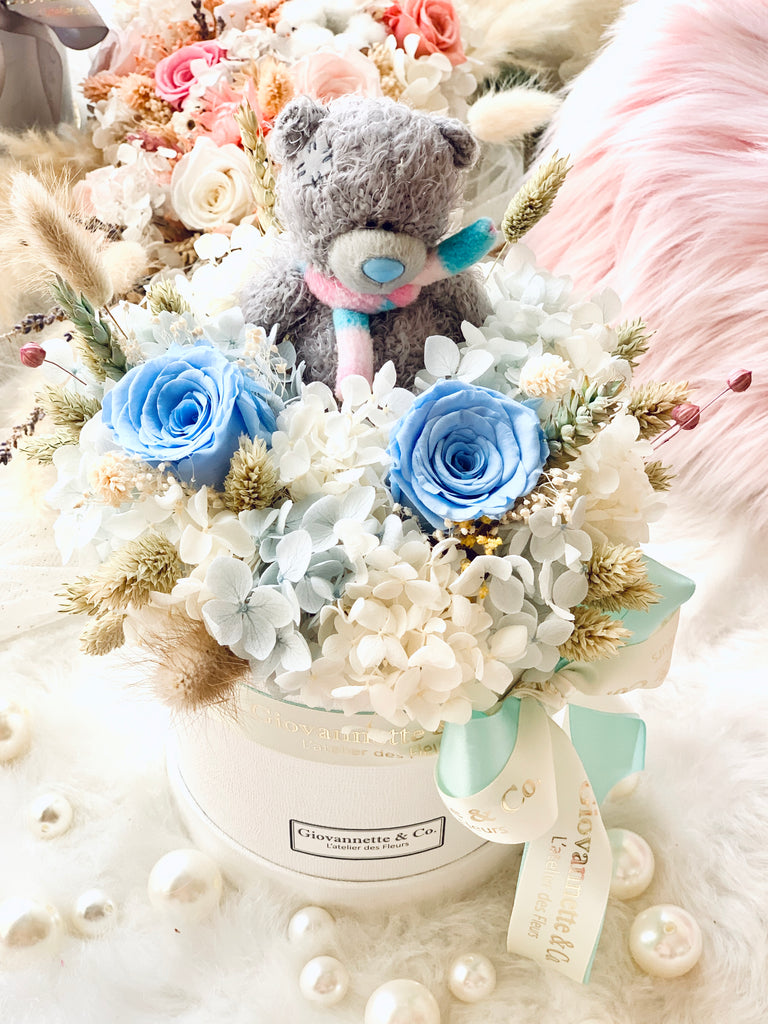 Baby Blue Bear Blooms Box (Preserved Flowers)