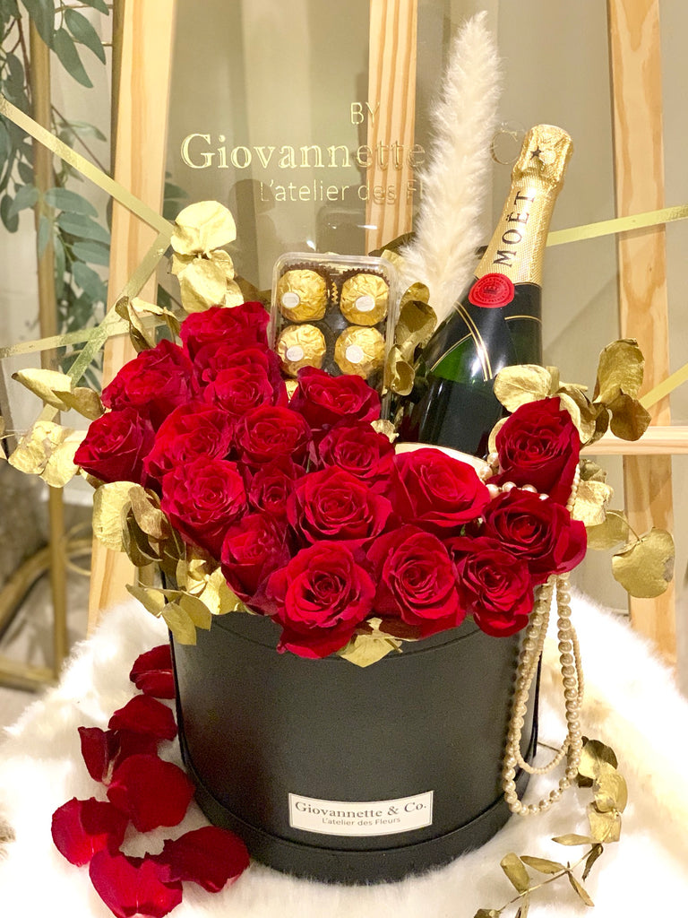 J'adore Rouge Rose Moet & Chandon Champagne Blooms Box (Bundled with Ferraro Chocolate)