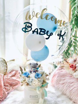 "Baby Blue Bear Blooms Box (Preserved Flowers) + 12"" Personalized Bubbles Balloon"