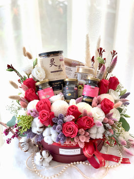 Superior Nourishment & Blooms Gift Box (Fresh Flowers)