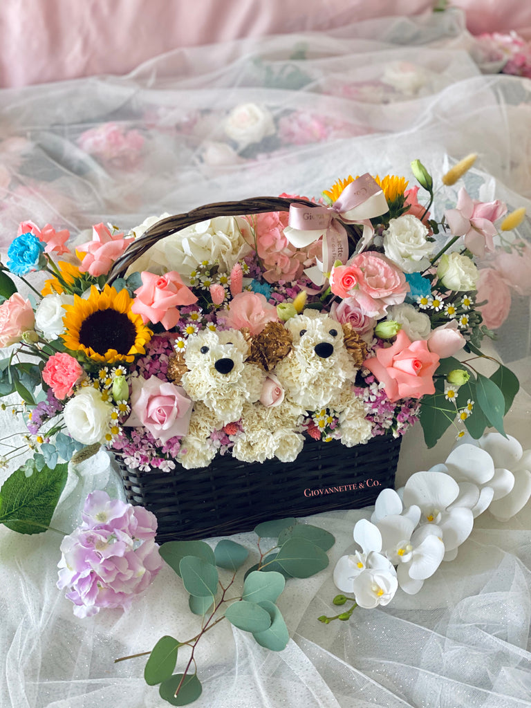 Cheerful Puppy Bloom Basket