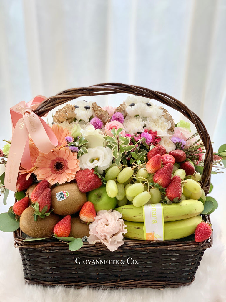 Adorable Puppy Blooms & Fruity Basket