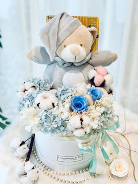 Musical Bedtime Bear Blooms Box (Preserved Flowers)