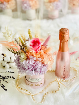 Mini Bottega Blooms Box & Rose Gold Sparking Wine Set