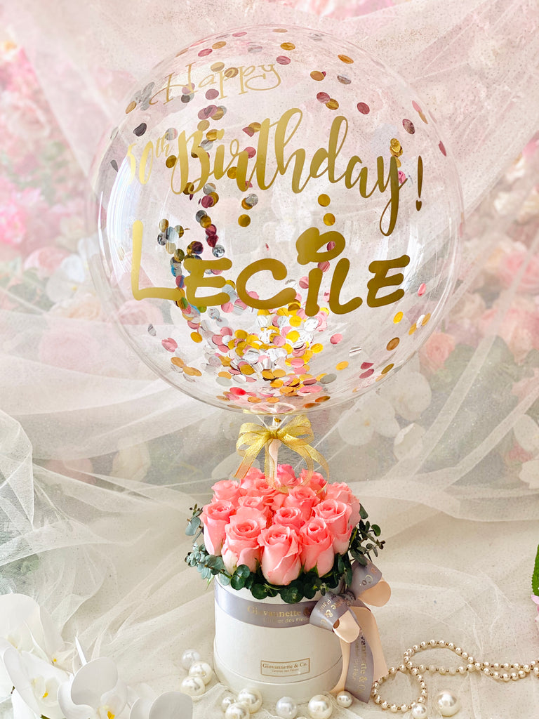 "Paris Je T'aime with 12"" Personalized Balloon (Pink)"