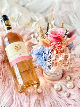 Mini Bottega Blooms Box & French Rose Wine Set