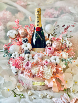 Les Elegante Champagne Bloom Box (Preserved Flowers, Large) - X'mas Edition