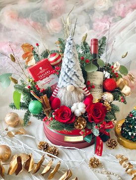 Les Festive Elf Gift Box (Fresh Flowers)