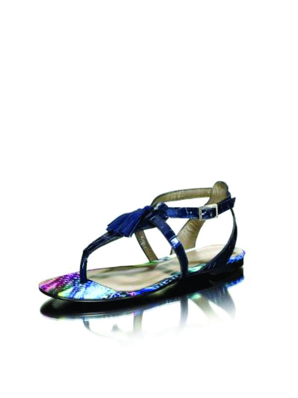 Blue Patent Flat Sandal - Womens Shoes