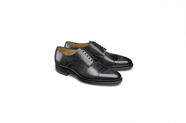 Black Cap Toe Derby Goodyear Welted Shoe
