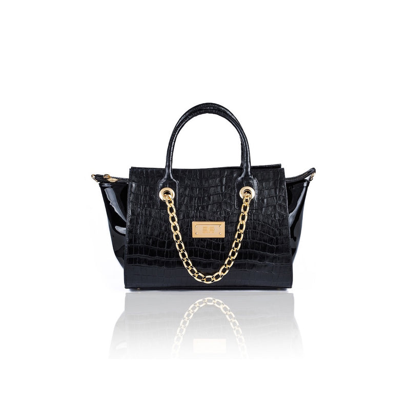 Croco Black Leather And Black Patent Handbag - Womens Handbags