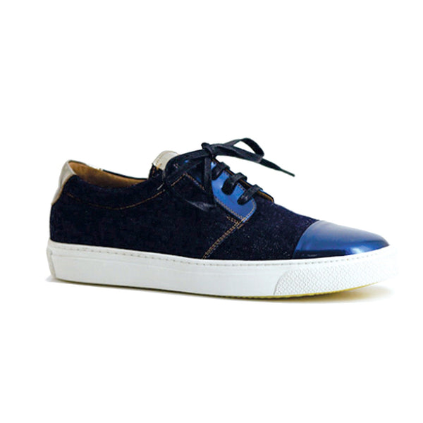 Blue Patent And Denim Sneaker - Mens Sneakers