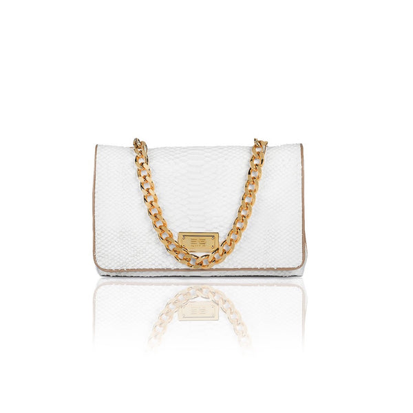 Capre Madrid White And Beige Patent Handbag - Womens Handbags