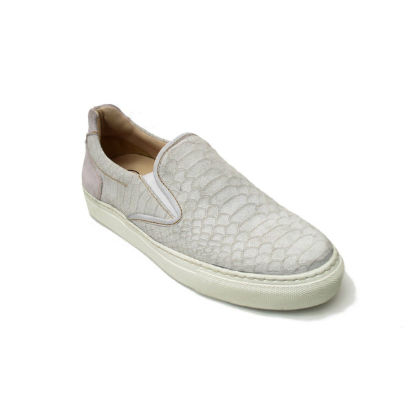 Lamu Silver Lizzard White Leather Ladies Sneaker - Womens Sneakers