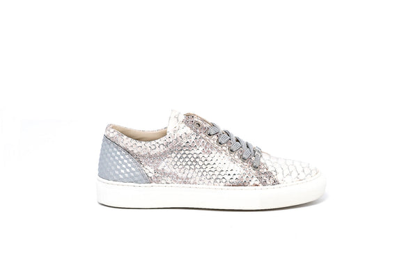 Silver metallic anaconda print lace up sneaker