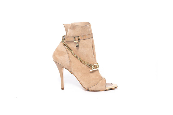 Beige Suede Peeptoe Bootie with Gold Chain Detail