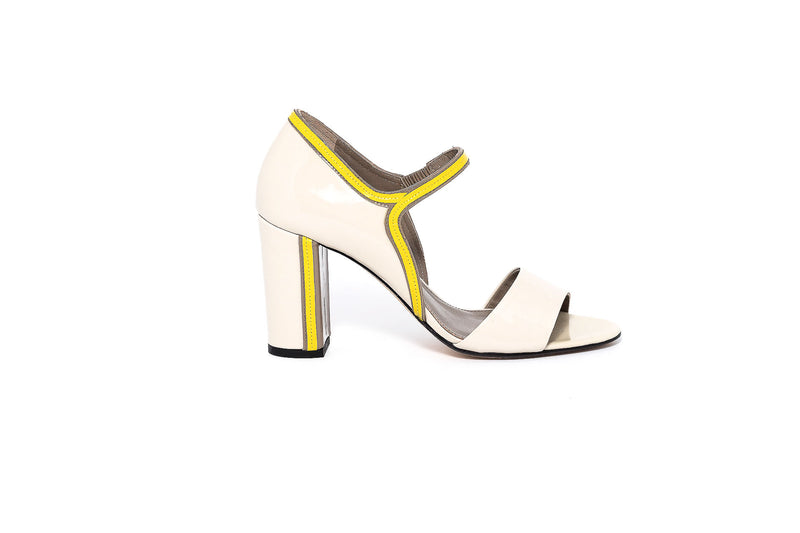 Beige and Yellow Trim Block Heel Sandal