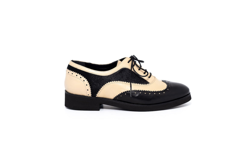 Black And Beige Leather Brogue