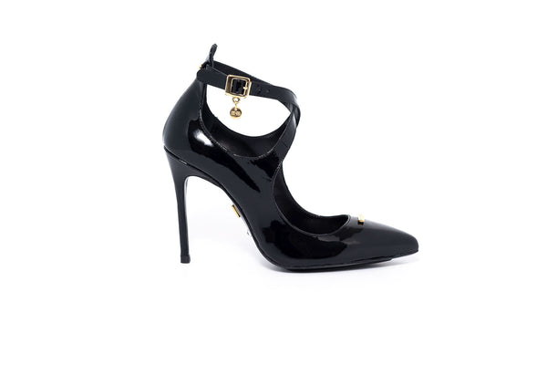Black Patent Strappy Pump
