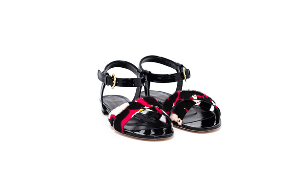 Black Patent and Fuschia Mix Pony Flat Sandal