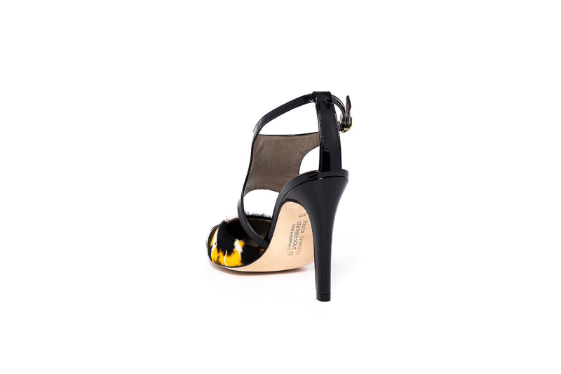 Black Patent and Yellow Mix High Heel Open Pump