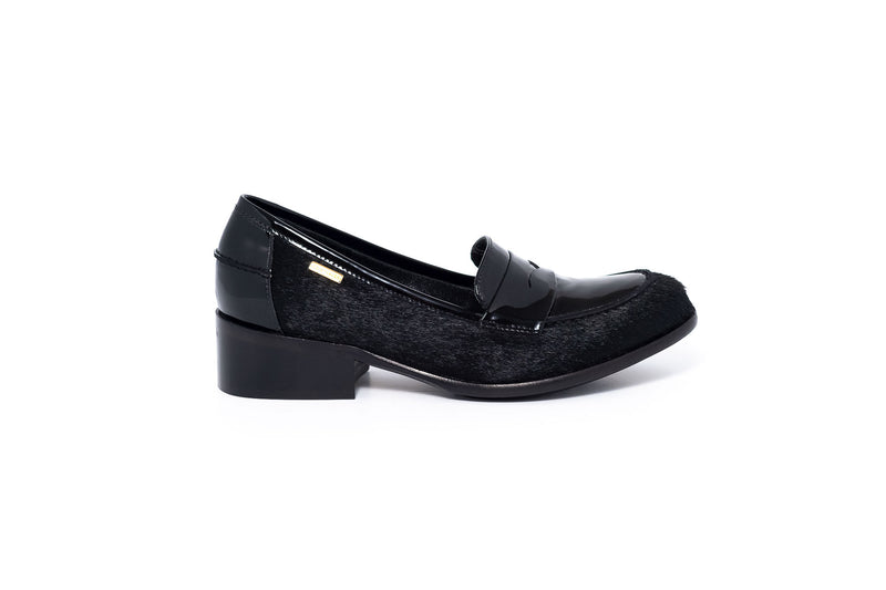 Black Pony and Patent Leather Loafers