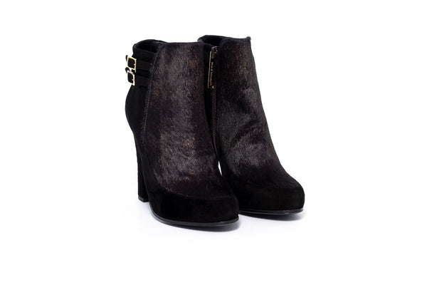 Black Suede And Pony High Heel Boot