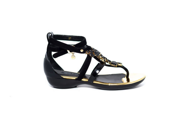 Black Suede Sandal with Black Crystal Embellishment