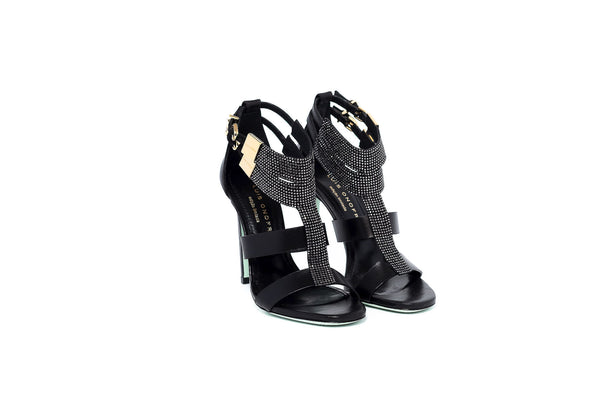 Black Swarovski High Heel Sandal