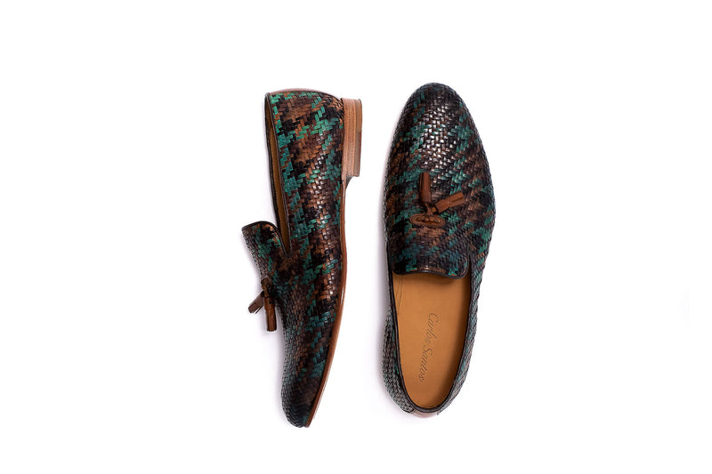 Black, Brown, Tan and Green Leather Tassel Loafer
