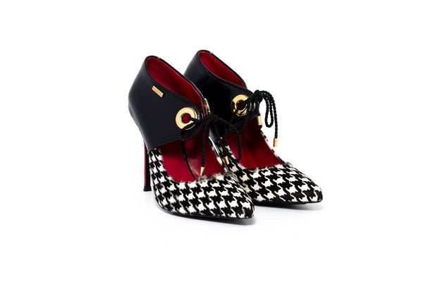 Black, White and Red Heel with Ankle Cuff