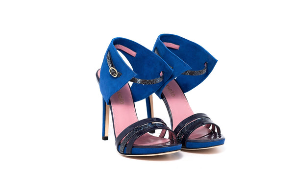 Blue Patent and Piton Vero High Heel Strappy Sandal