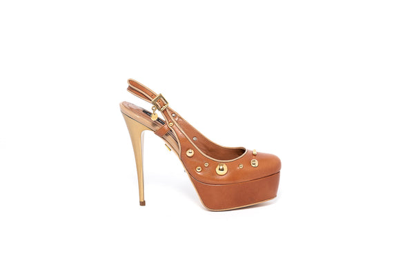 Camel Studded Open Back Pump