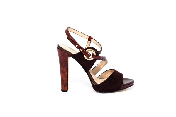 Chocolate Suede Croco Print High Heel Sandal