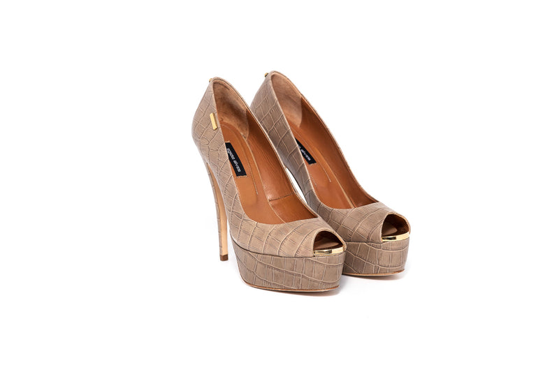 Croco Taupe High Heel Peeptoe Pump