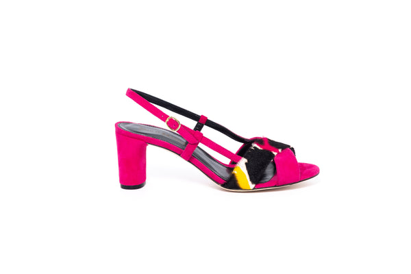 Fuschia Suede and Fuschia Mix Low Heel Strappy Sandal
