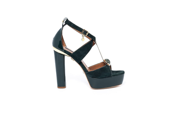 Emerald Suede and Patent Strappy Heel