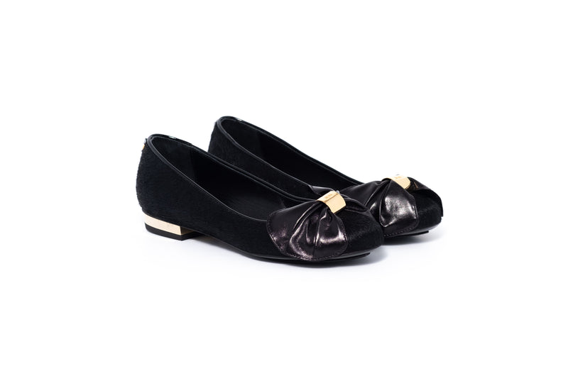 Black Pony Flat Pump with Leather Bow