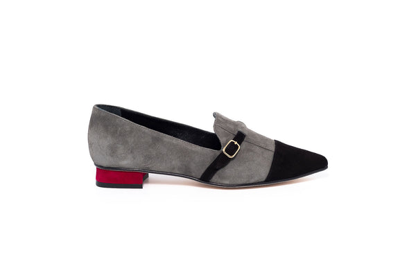 Grey Black And Burgundy Low Heel