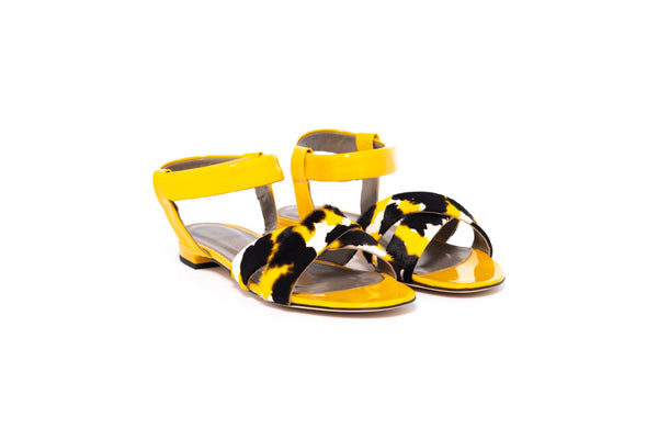 Yellow Patent and Yellow Mix Flat Sandal