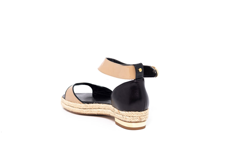 Patent Beige and Black Leather Sandal with Rope Detail