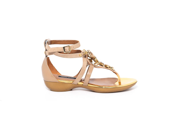 Beige Suede and Patent Leather Swarovski Crystal Flat Sandal