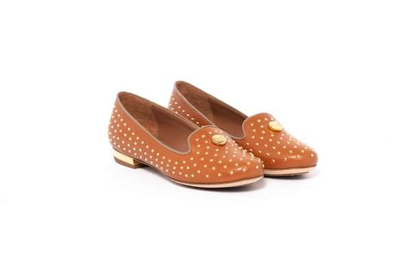 Tan Flat Pump with Gold Dot Detail