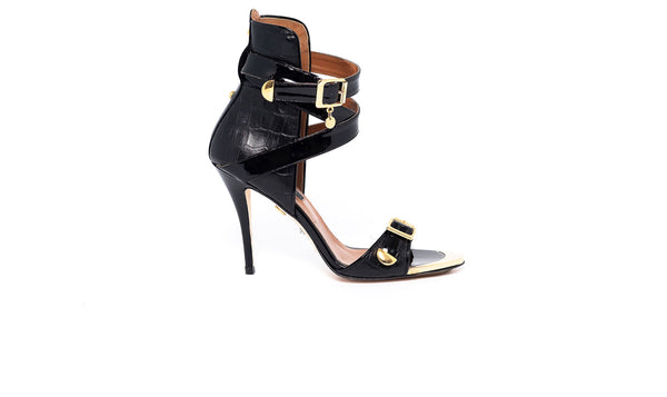 Croco Black High Heel Sandal